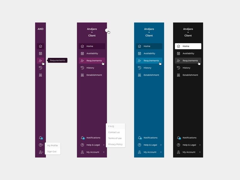 Andjaro - Sidebar Navigation sketch sidebar design navigation menu collapsible navigation sidebar menu sidebar menu andjaro ui design