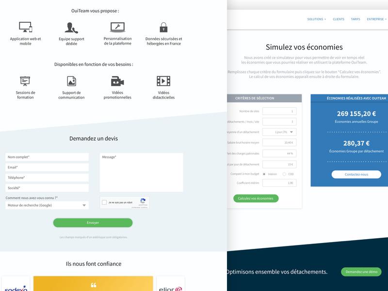 OuiTeam - Pricing & Savings Simulator savings simulator simulator pricing website design ouiteam website psd photoshop design corporate website