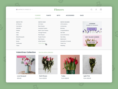 Daily UI 027 - Dropdown website design website flowers shop flower shop ecommerce e-commerce shop dropdown menu dropdown dailyui027 dailyui figma ui design