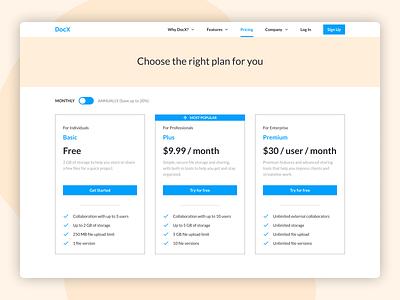 Daily UI 030 - Pricing plan pricing plan pricing page pricing website design website dailyui030 dailyui figma ui design
