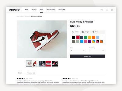 Daily UI 033 - Customize Product website design website customize product customize shop e-commerce ecommerce dailyui033 dailyui ui design