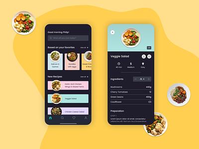 Daily UI 040 - Recipe cooking app recipe app cooking cook recipe dailyui040 mobile ui mobile app mobile design mobile dailyui figma app ui design