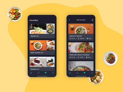 Daily UI 044 - Favorites favorites cooking app cooking cook recipe recipe app mobile app mobile design mobile ui mobile dailyui044 dailyui figma app ui design