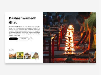 Varanasi Ghat Landing Page app ui  ux design in browser shots icon infomation graphics ui ux typography branding dribble concept thinking design minmaldesign dribblers