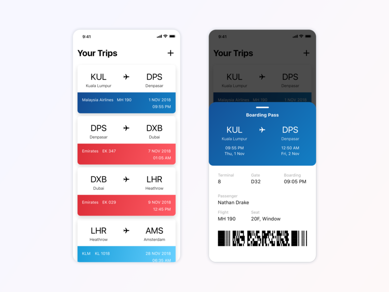 Daily UI - Boarding Pass digital travel ticket app flight app dailyui clean minimal inspiration concept app ux design ui ux ui design design