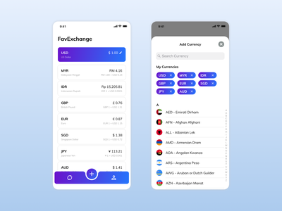 Daily UI - Currency Exchange gradient list tab bar converter currency exchange dailyui clean minimal inspiration concept app ux design ui ux ui design design