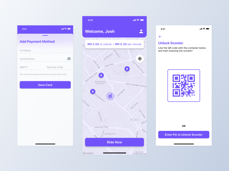 Beam Redesign payment method purple map ui transportation scooter branding dailyui clean minimal inspiration concept app ux design ui ux ui design design