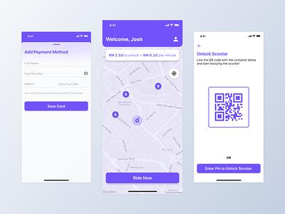 Beam Redesign payment method purple map ui transportation scooter branding dailyui clean minimal inspiration concept app ux design ui ux ui design design