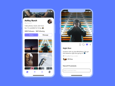 Profile & Post Concept interaction photography social app branding minimal clean inspiration concept app ux design ui ux ui design design