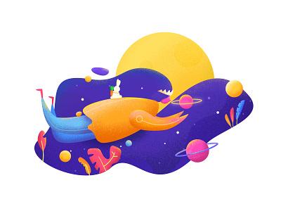 Moon Gril illustration rabbit bule illustration gril moon