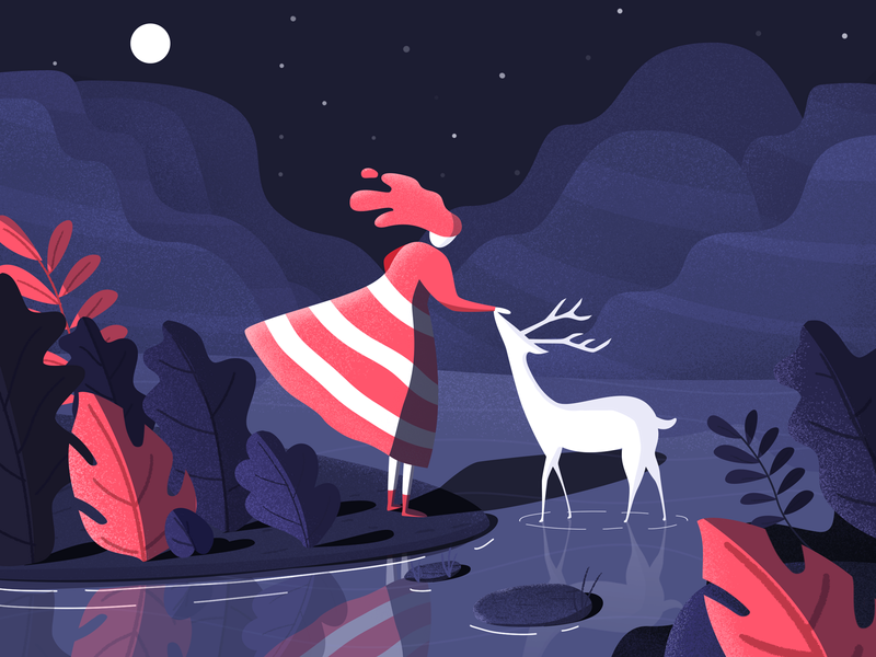 Girl and deer moon lake night mountain deer girl