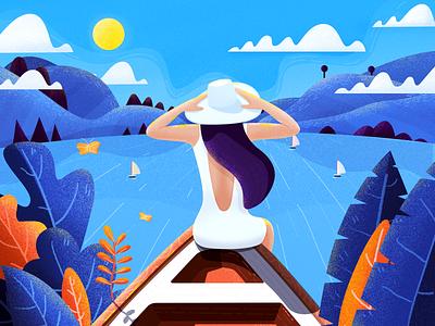 Boating Girl lake girl boat