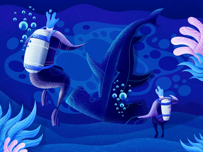 Deep-sea shark shark sea human plant aquanaut