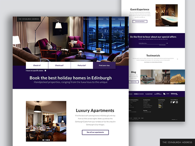 The Edinburgh Address Desktop Web UI visual ui design adobe ux interface ui edinburgh hotels apartments website web responsive
