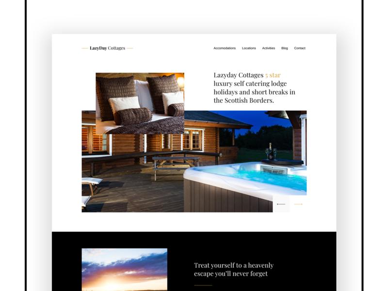 Lazyday Cottages Web Design cottage booking lodge hotel digital design ux design figma ui design web design interface graphic design branding website web design adobe ux ui