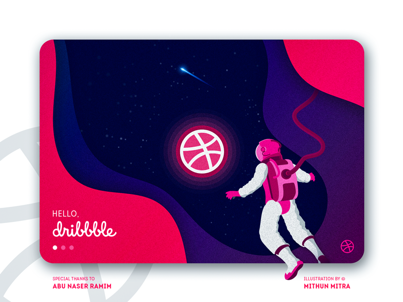 Hello Dribbble! planet white purple violate pink stars astronaut space first shot debut shot