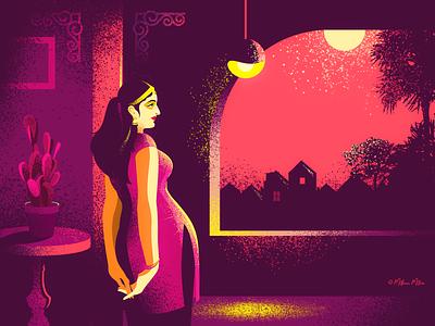 The Lonesome! red art design illustration vivid beauty female moonlit night