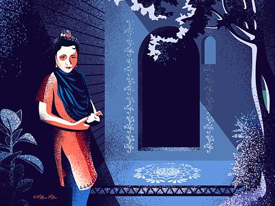 Moon howls! moonlit art vector female beauty illustration