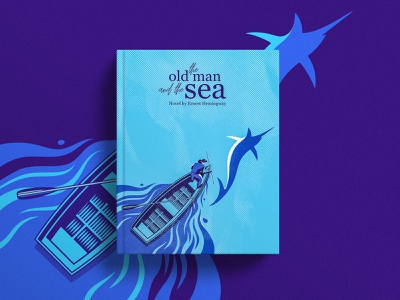 Old fisherman ernest hemingway novel old man marlin deep blue boat sea old man and the sea cover illustratrion cover art book cover art vector flat illustration design illustration