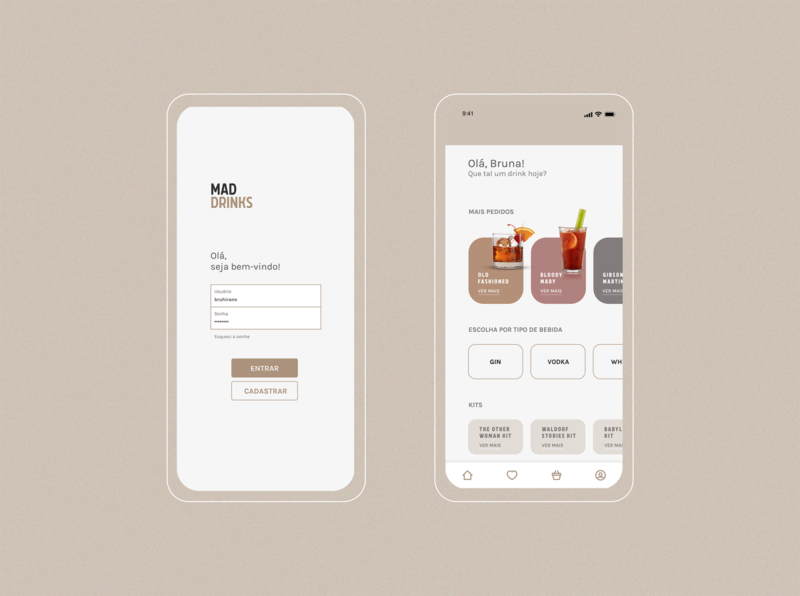 MAD DRINKS - Delivery App #3 drinks ux design ui design login home page delivery app mad men application app home
