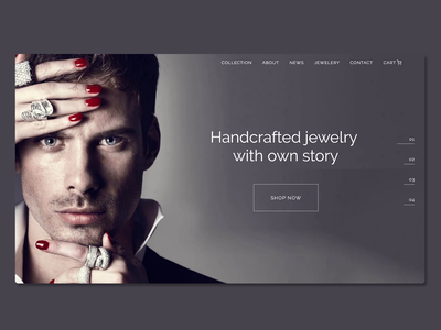 Jewelry Store typography jewelry shop jewelry animation animated gif landing page ux website webdesign