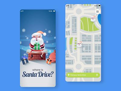 Santa Drive mobile design mobile ui uidesign uiux ui christmas uber clone uber santa