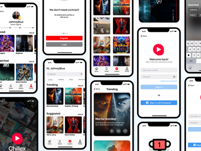 Chillex - Movie stream app design ux uiux ui application ui application movies app movie