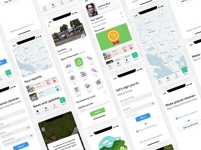 CleanUp - Illegal dumpsite report app app mobile mobile app ux case study ux green