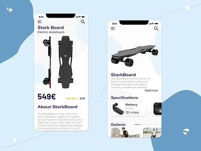 Stark Board - Electric Skateboard electric skateboard skate mobile design ux ui