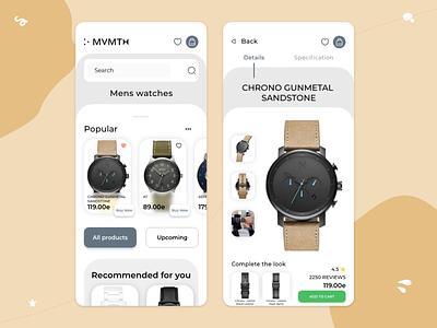 Movement Watches app mobile design ui design watch mobile ux ui
