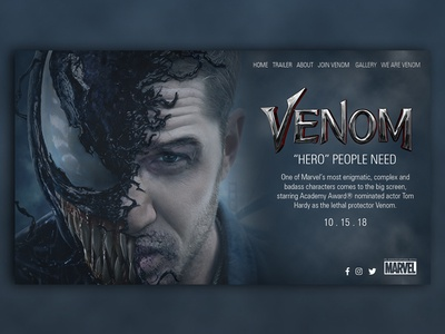 Venom Landing Page Design movie venom design webdesign website