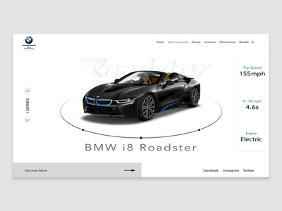 BMW i8 Roadster website landing page ui ux webdesign bmw
