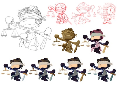 Justicetocat Concepts photoshop illustration sketch drawing judge justice lady justice octocat github concept art concept
