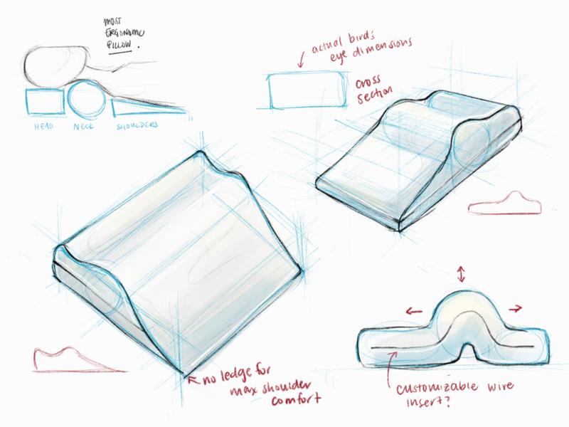 ergonomic pillow procreate sketching product design product pillow concept art illustration design