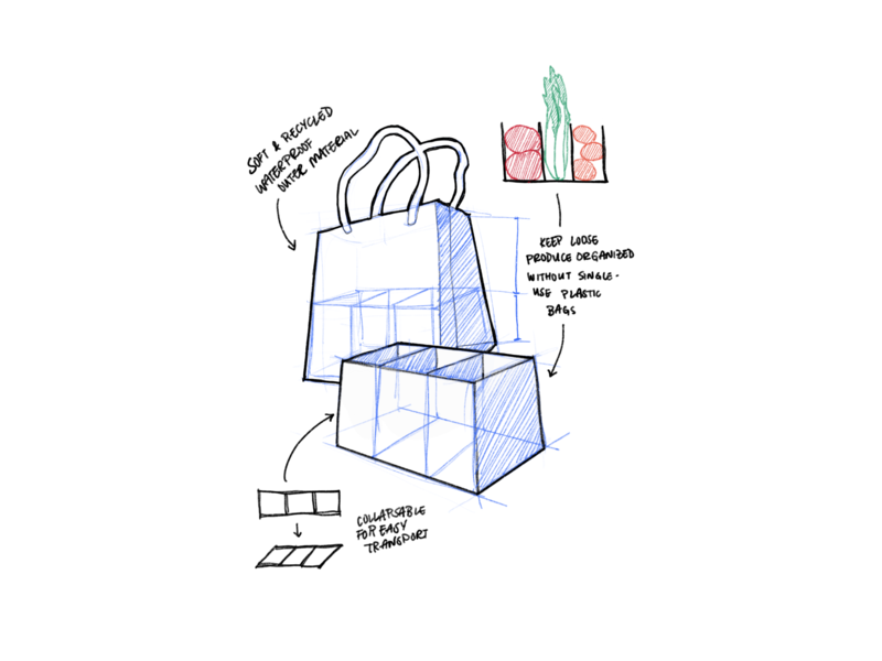 grocery bag concept grocery sustainability shopping concept product design procreate art illustration design