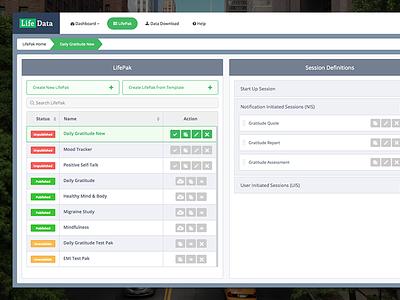 LifePak Builder & Manager lifedata dashboard lifepak builder lifepak manager admin panel information architecture interaction design uiux
