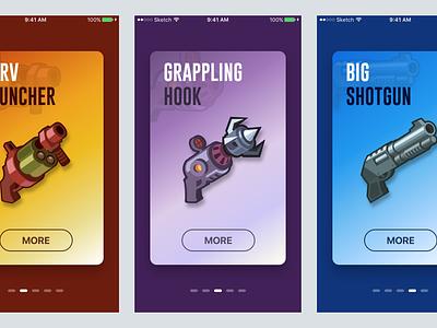 Game Weapon - Parallax Effect parallax ui iphone walkthrough principle animation weapon mobile game game