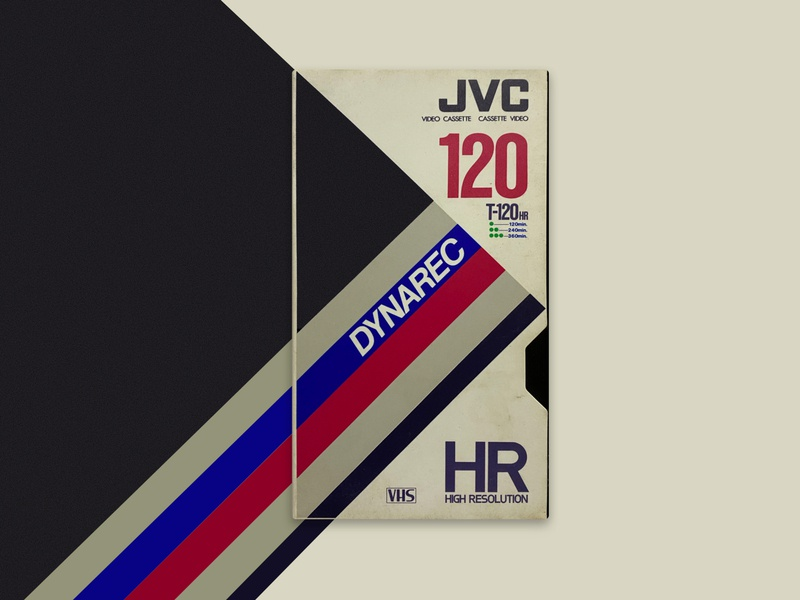 VHS JVC Dynarec T120 / Video Cassette Tape aesthetic wave betamax inspiration old school vintage product vapor 80s digital concept artwork retro tape high resolution rec dynarec jvc vhs cassette