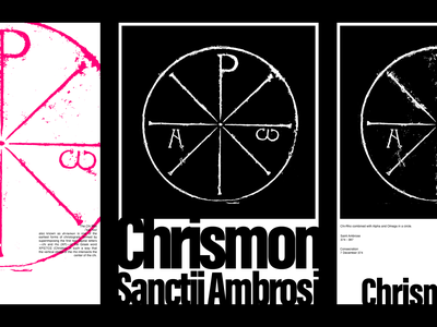 Chrismon of St. Ambrose Posters ☧ catholic mysticism symbolism contrast christianity simple clean posters king god jesus cross symbol poster collection poster saint