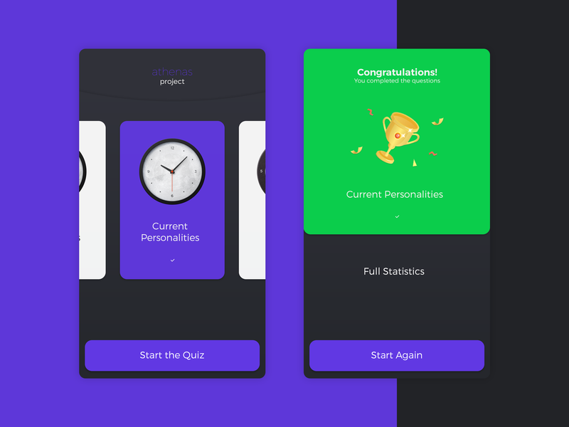 Athenas Project App athenas research game quiz purple ux app mobile ui design concept
