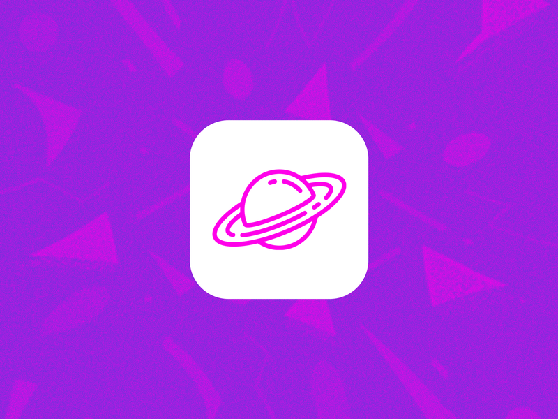 Pink Planet Simple Icon app design concept planet ios icon pink white