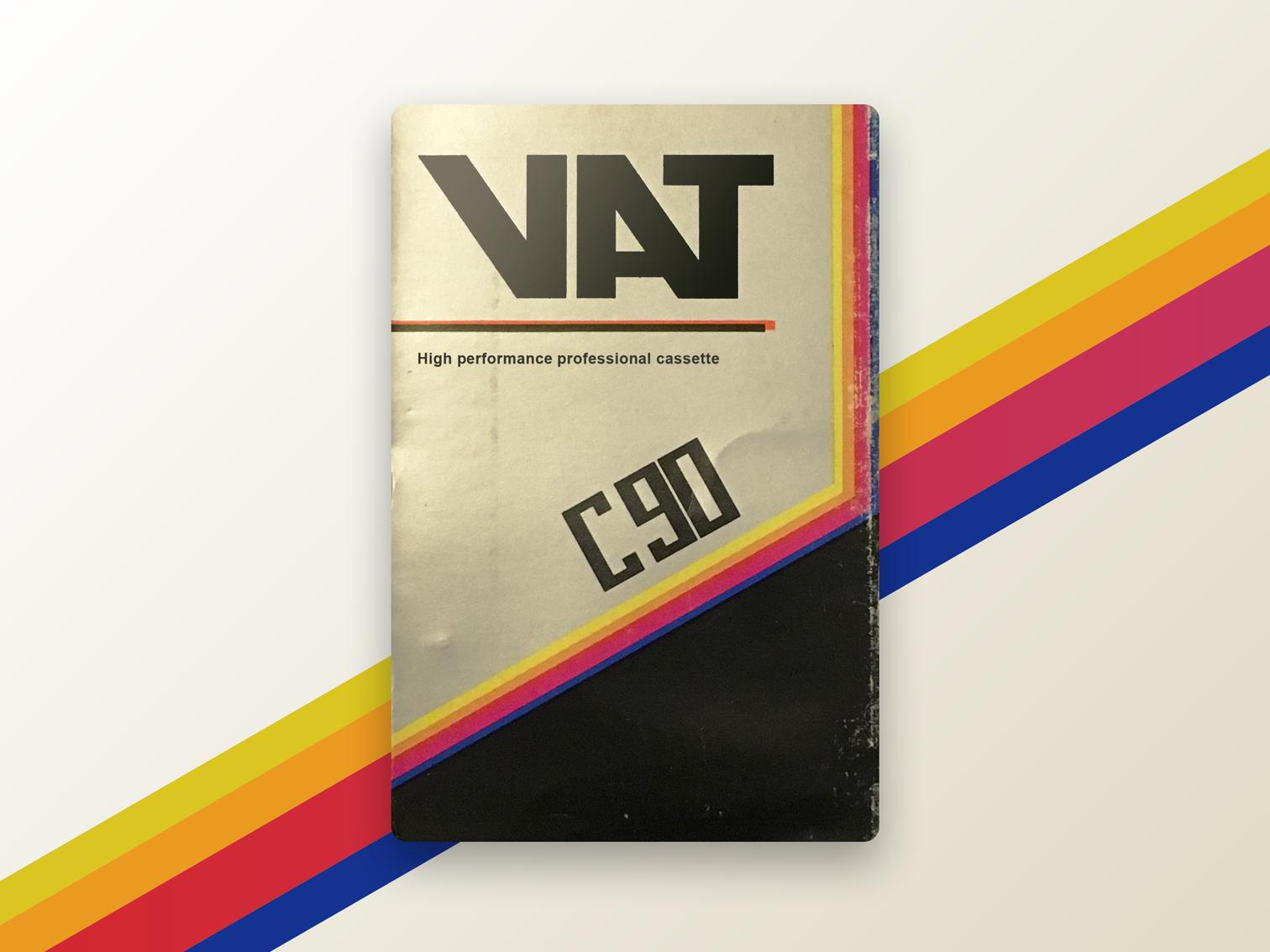 VAT c90 high performance cassette ui retro design inspiration retrowave design brand colors artwork retro vhs cassette tape cassette old school concept