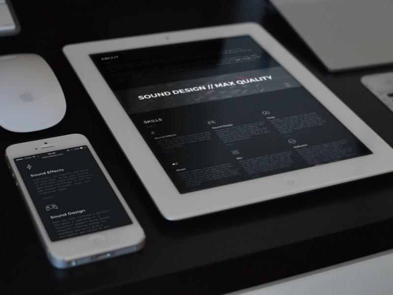 Sound Design Web Portfolio sound design sound effects portfolio dark dark theme responsive webdesign uk london sound designer audio designer sound web design web concept