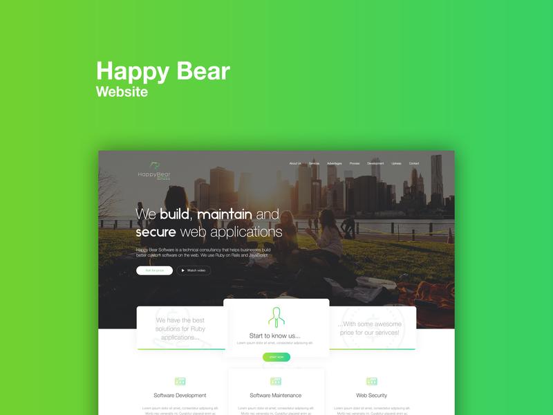 Website Concept :: happy bear software freelance startup software branding design ui mobile gradient green responsive happy bear web design website web concept
