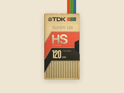 TDK High Standard SUPER T-120 VHS Tape tape vintage 80s concept old school cassette cassette tape artwork colors super retrowave inspiration design retro tdk betamax cassete vhs