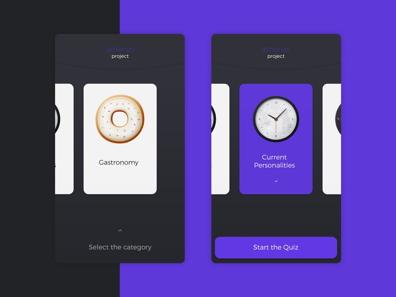 Athenas Project :: Soft Categories soft portfolio ux purple quiz game research athenas mobile design ui app concept