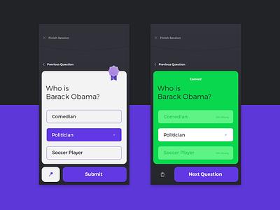 Athenas Project :: Questions app concept concept app design mobile athenas research purple portfolio soft ui interface game quiz