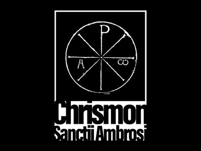 Poster :: Chrismon Sancti Ambrosii chi-ro sacred religious posters religion symbol chi ro illustration artwork infinite white dark black minimalist contrast black white saint ambrose christ poster