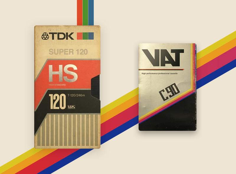 TDK T120 VHS + VAT C90 Cassette psd behance recreation digital vhs cassete betamax tdk design inspiration retrowave super cassette old school concept 80s vintage tape artwork retro