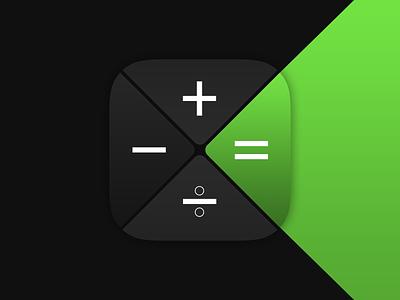 CalcX Mobile Icon presentation showcase app concept numbers icon design mobile app dark gradient green calculator calc math concept iconography app icons icon mobile
